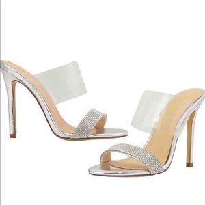 Shoes - ❣️ Transparent Rhinestone Double Strap Slide Heel